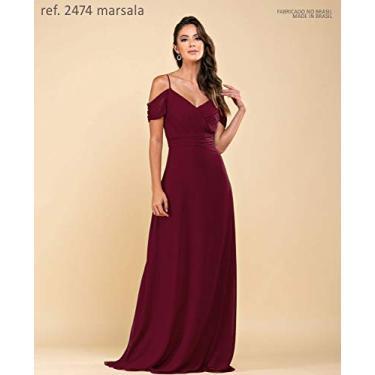 Vestido de festa longo de chiffon com corpo plissado e manguinha marsala ref. 2474