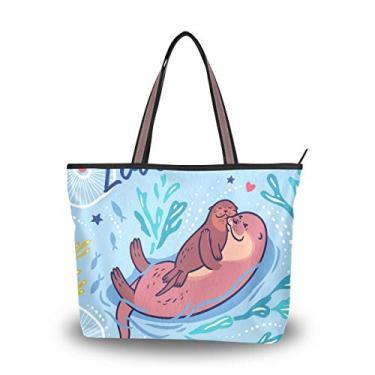 Bolsa de ombro com tema de amor para mulheres e meninas, Multicolorido., Large