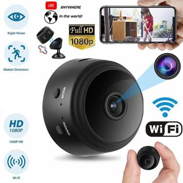 Mini câmera de segurança em casa a9 1080p hd wifi ir visão noturna filmadora 360 graus suporte