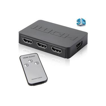 HDMI Splitter 3 Port Hub Box detector magnético 3 em 1 Out Switcher 1080p HD com controle remoto para XBOX360 PS3 HDTV Projetor Video Converter