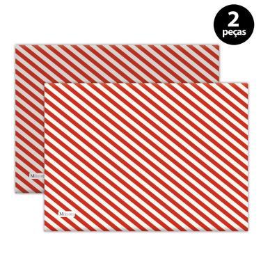 Imagem de Jogo Americano Mdecore Natal Listras 40x28 cm Vermelho 2pçs