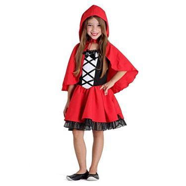 Imagem de Fantasia Chapeuzinho Vermelho Infantil de Luxo Completa Com Capuz G 9-12