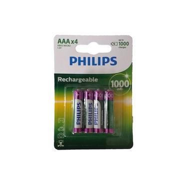 4 Pilhas Recarregável PHILIPS AAA 1000MAH HR03 MICRO 1,2V