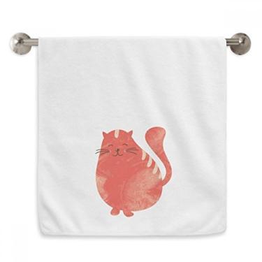 Imagem de DIYthinker Toalha de mão laranja sorrindo gato gordo toalha de mão aquarela toalha de banho de algodão macio toalha de rosto