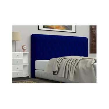 ca867e247c0 Cabeceira Brenda 140 cm Para Cama Casal Quarto Box Corino Azul Marinho Luxo