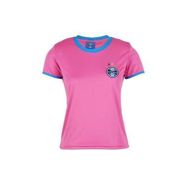 Camisa Baby Look Grêmio Original Feminina Bordada Torcedor Rosa
