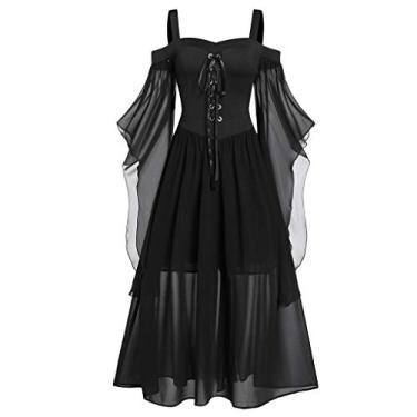 Vestidos góticos para mulheres plus size de renda cruzada camiseta vestido manga borboleta irregular cosplay Chaofanjiancai, 1-black, X-Large