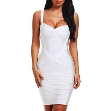 Imagem de Vestido Bqueen feminino com alças finas e faixa no corpo BQ1636-1, Branco, X-Small