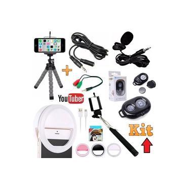 Kit Youtuber Tripé Para Câmera Celular Iphone Android Universal + Microfone de Lapela + Flash Led Luz Ring Light + Bastão de Selfie Controle Bluetooth + Extensão Original