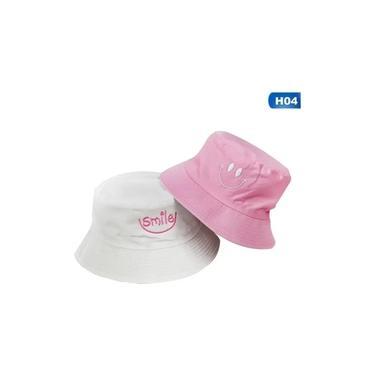 Bone Chapéu Bucket Hat Duas Faces Smile Sorriso Rosa Branco