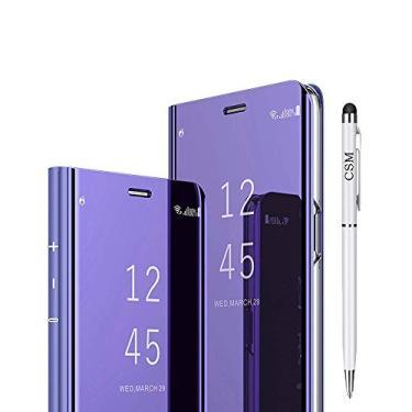 Capa flip espelhada para Galaxy A8 Plus 2018, capa com suporte galvanizado de luxo, capa inteligente com visualização clara com protetor de tela, película flexível de cobertura total para Samsung Galaxy A8 Plus 2018 - (Violeta)