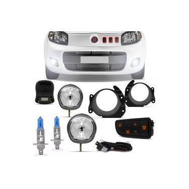 Kit Farol Milha Fiat Uno Way Attractive Vivace Fiorino com Par Lâmpadas Multilaser H1 5000K 12V 55W