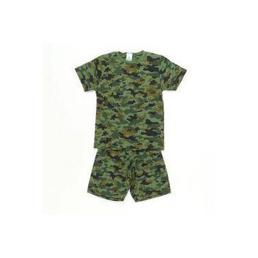 Pijama Manga Curta Camuflado Verde - Pepila