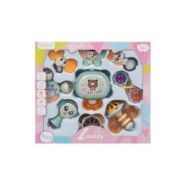 Bebê Kit Infantil Chocalho Brinquedo Acessórios 9 Peças