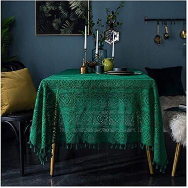 Imagem de Toalhas de mesa feitas à mão simples verde escuro retro artesanal crochê oco toalha de mesa de linho de algodão toalha de mesa para mesa retangular sala de estar sala de estar mesa cozinha decoração
