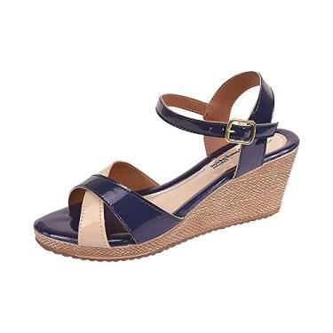 Sandália Romântica Calçados Anabela Azul-Marinho (34)
