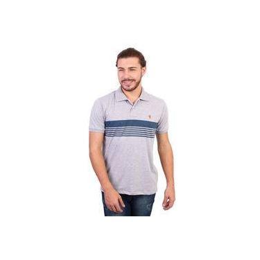 Camisa Polo New York Polo Club Listrada Cinza Mescla Claro 397706c8f9856