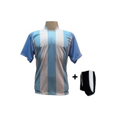 Uniforme Esportivo com 20 camisas modelo Milan Celeste/Branco + 20 calções modelo Copa Preto/Branco +