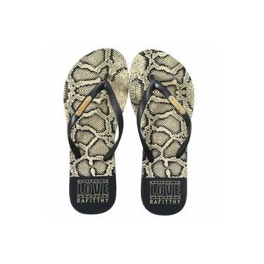 Chinelo Rafitthy Snake Preto