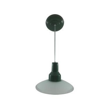 Luminária Pendente Vidro Jateado Curvo - Verde