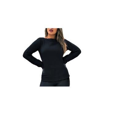 Blusa Bia Comprida Feminina Básica Trico Inverno Frio Preto