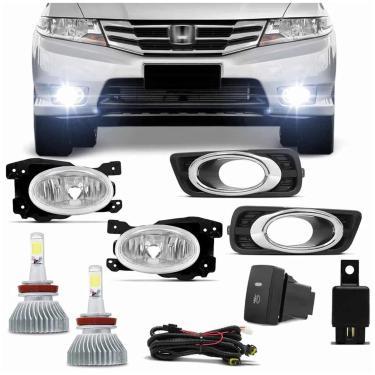Kit Farol Milha Honda City 12 a 14 com Par Lâmpada Super LED Headlight H11 6000K 6400LM Efeito Xênon