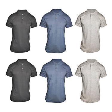 Imagem de Kit 6 Pç Camiseta Pólo Masculina - Camisa Gola Pólo Algodão