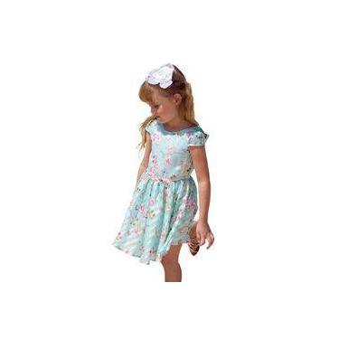Vestido Infantil Organza Verde Água Borboletas e Flores Gabriela Aquarela
