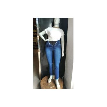 Calça Jeans Super Lipo Plus Size cintura alta lycra cinta modeladora