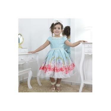 Vestido infantil luxuoso tema flamingo e rosas floridas