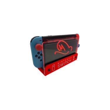 Suporte Bancada/Parede Nintendo Switch Iluminado - Mario Odyssey - Base Vermelho LED Vermelho