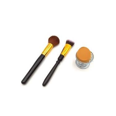 Kit 3 itens essenciais para maquiagem - Pincéis e Esponja