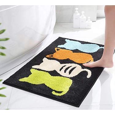 Imagem de Aspthoyu Tapetes de banheiro antiderrapante e peluciado, absorvente, super lavável à máquina, tapete de banheiro infantil, tapete fofo de desenho animado, 81 x 50 cm, gato, preto