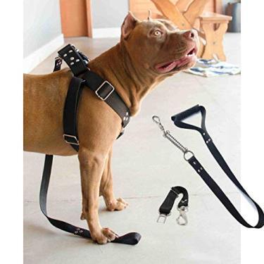 Imagem de Coleira Peitoral Guia Cinto Segurança Cachorro Doberman Pitbull Anti Puxao - M Preto