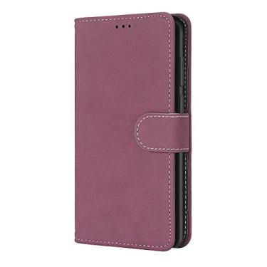 Capa Zl one compatível com/substituição para telefone Samsung Galaxy A01 Core Matting PU couro proteção 3 compartimentos para cartão carteira flip capa (rosa)