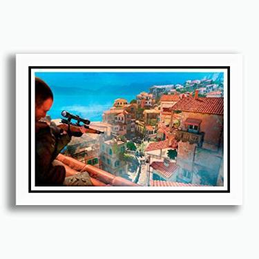 Quadro Sniper Elite 4 60x40cm Game Filme Serie Tv Decorativo Quarto Sala Copa Cozinha Loja Escritorio Pronto para Pendurar