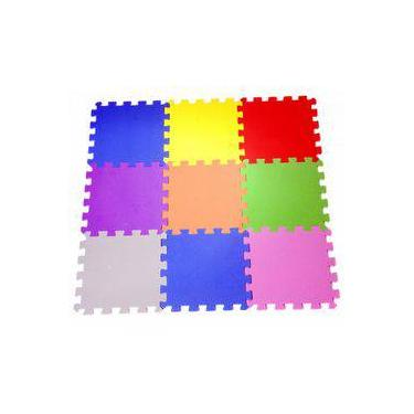Imagem de Tapete Tatame Liso 9 PEÇAS  - Mingone - Multicolorido