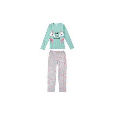 Pijama ADULTO Feminino Inverno Azul Unicórnio Malwee