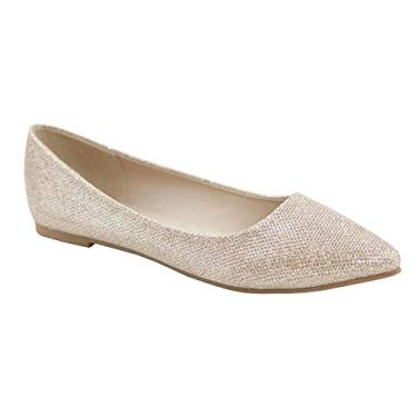 Bella Marie Angie-53 sapatilha feminina clássica bico fino balé sem cadarço, Champagne Glitter-53, 11
