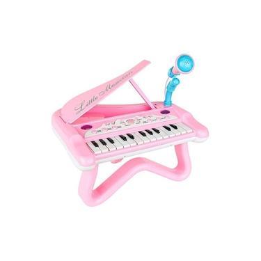 Imagem de Piano Infantil Rosa Interativo Menina Microfone Teclado.