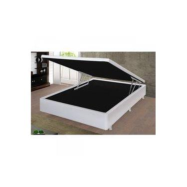 Imagem de Base Box Casal com Baú 40cmx140cmx190cm Turim Damasu Colchões Branco