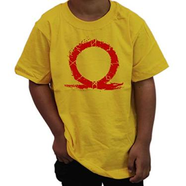 Camiseta Infantil Geek God Of War 4 Kratos Titans Gaia Gamer Cor:Amarelo;Tamanho:12