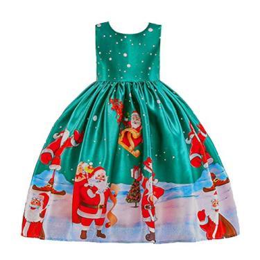 SOIMISS Princesa Vestido Completo Estampado de Natal para Meninas Vestido de Festa Festiva Infantil Roupa Mangas Vestido Infantil Requintado (Tamanho 100cm, Verde)