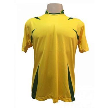 Imagem de Jogo de Camisa com 14 unidades modelo Palermo Amarelo/Verde + 1 Goleiro + Brindes