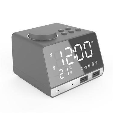 LED Display Dual Alarme Relógio Dual Unidades Sem Fio Bluetooth Speaker FM Rádio Porta USB Bass Speaker Banggood