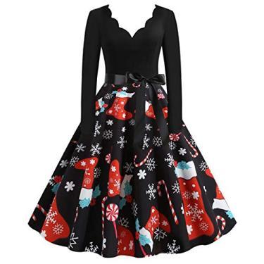ZEFOTIM Vestido de Halloween Natal 2020, vestido feminino vintage de manga comprida anos 50 para dona de casa para festa noturna, Christmas#10, X-Large