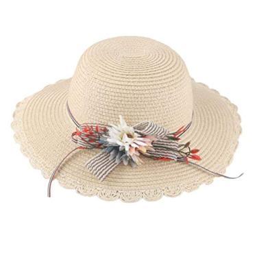 PRETYZOOM Chapéu de palha de flor chapéu de praia de verão respirável adorável chapéu de proteção solar (padrão de girassol bege para adultos) chapéu de sol de verão