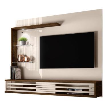 Painel Suspenso Frizz Select Para Tv De Até 55 Polegadas Com Prateleiras De Vidro E Luminária Led Off White Brilho E Savana Fosco Sala De Estar - Made