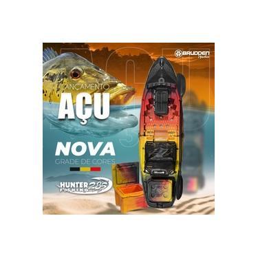 Caiaque Hunter Fishing 285 Açú Brudden Náutica + Cooler 15L Açú + Rack 4 Ventosas Top com Bac