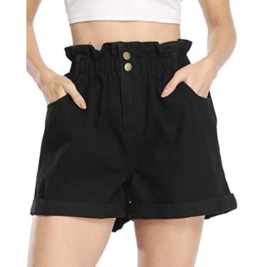 andy & natalie Short jeans feminino de verão, cintura alta, bolsa de papel, calça jeans com bolsos, Z - preto, L